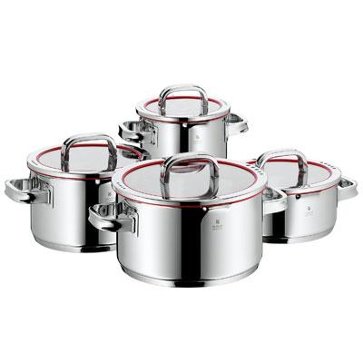 WMF 4-delige inductie pannenset met 3 kookpannen en 1 steelpan en 4 deksels