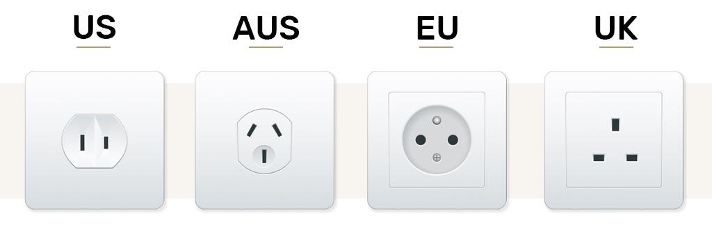 Stopcontacten van de VS, AUS, EU en UK