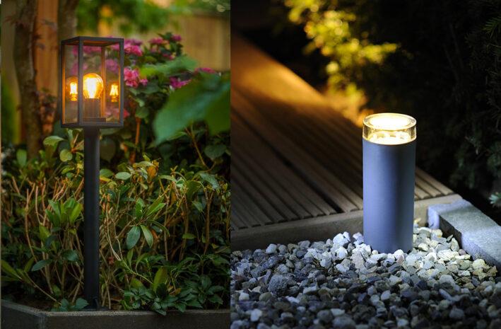 Buitenlamp in de tuin met een schemer of bewegingssensor